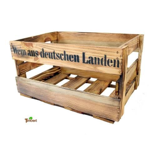 Vintage Weinkiste Holzkiste Rustikales Schuhregal Aufbewahrung Flaschen Regal aus Holz Handgemacht in Deutschland Geflammt Bar Deko Geschenk