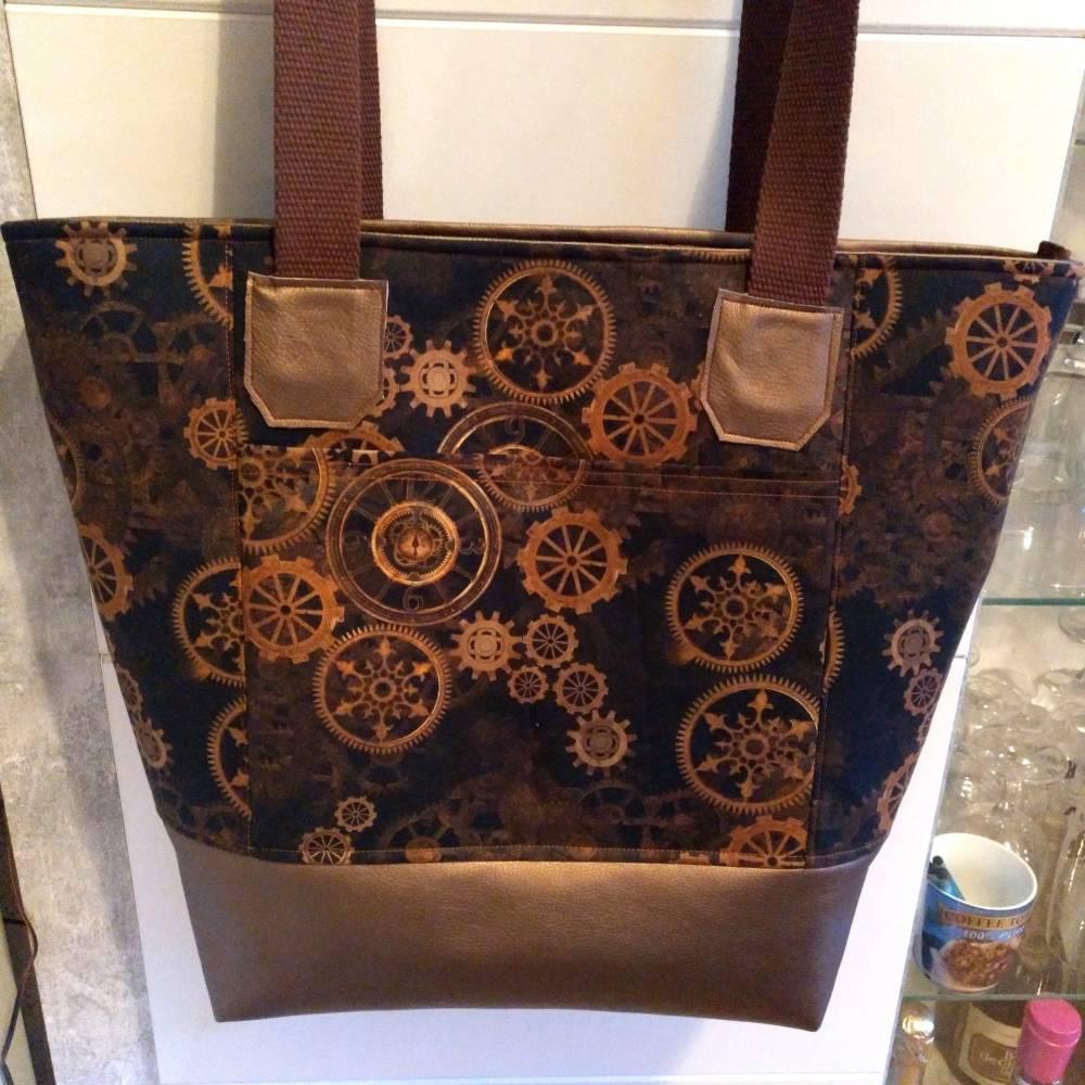 große Tasche, Steampunk, Shopper, Umhängetasche, Handtasche,  Bild 1