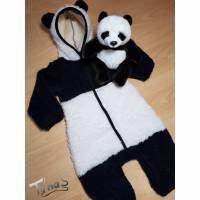 "Panda ""Paul"" Kostüm Overall in Gr. 80/86 Fasching Karneval aus sehr dickem Teddyplüsch Bild 1"