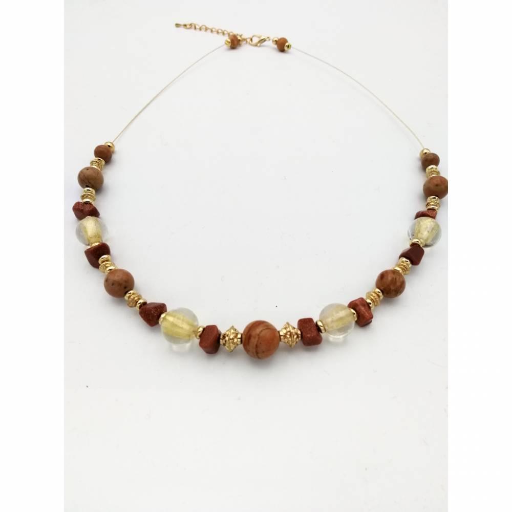 Perlen - Halskette bernstein -/ gold-braun-farben, doppelreihig mit Blatt, 45cm lang Bild 1