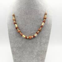 Perlen - Halskette bernstein -/ gold-braun-farben, doppelreihig mit Blatt, 45cm lang Bild 5