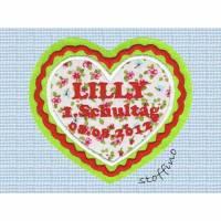 Applikation XXL Herz zur Einschulung mit Wunschtext Bild 1