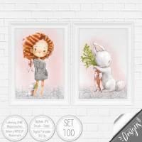 Druckbare Kinderzimmer Bilder Kinder Bild Waldtiere in A4 & A3 |SET 100 Bild 1