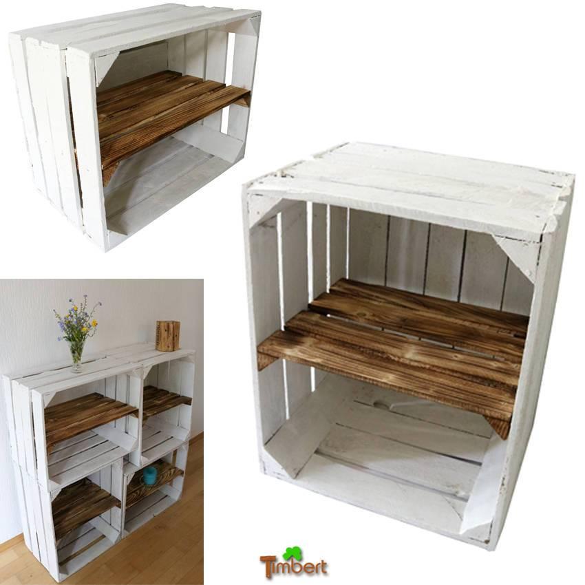 SCHUHREGAL Alte WEIßE OBSTKISTE mit Zwischenbrett Stabile Holzkisten mit Zwischenboden Apfelkiste Regal Vintage Kisten Bücherregal Shabby Bild 1