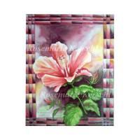 Hibiskusblüte Aquarellbild handgemalt in Ocker-, Rosa-, Rot- Aubergine- und Grüntönen 40 x 30 cm in Hochformat Bild 1