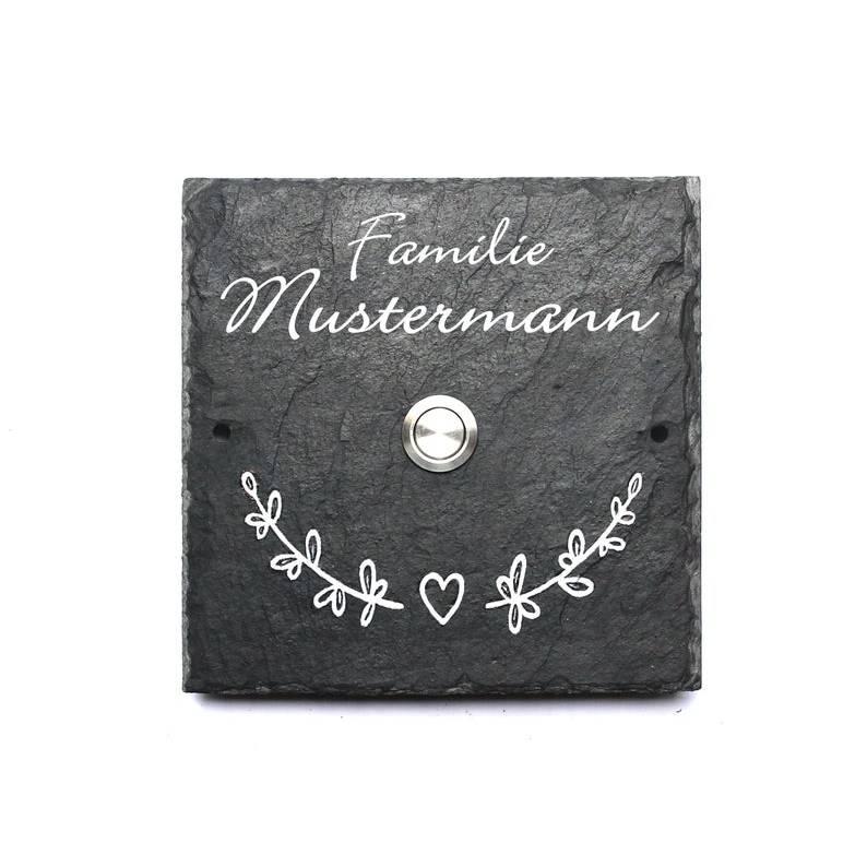 Klingelschild, Klingel, Türklingel, Haustürklingel, Türschild / Namensschild / Familienschild Klingeltaster integriert, personalisiert Bild 1