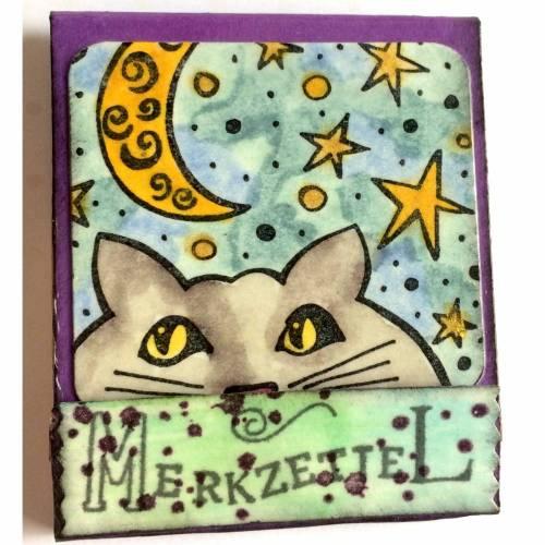 """""""Streichholz""""-Briefchen-Verpackung, klassisch befüllt mit Abreisszettelchen - Motiv """"Night Cat"""""""