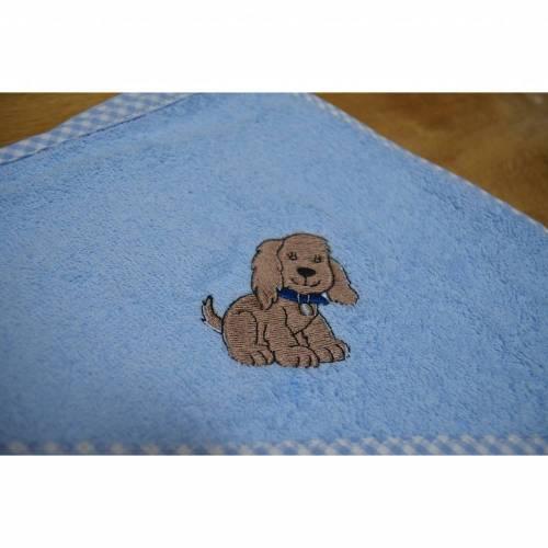 Kapuzenbadetuch - hellblau - Hund