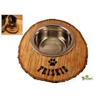 Rustikaler FUTTERNAPF aus einer BAUMSCHEIBE mit WUNSCHNAME Geschenk aus Holz Hund Katze Fressnapf Katzennapf Edelstahl Personalisiert Gravur Bild 1