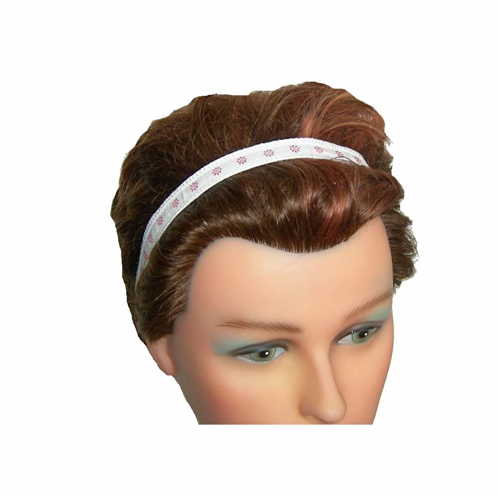 Haarband schmal, Blümchen, weiß mit rosa Bild 1
