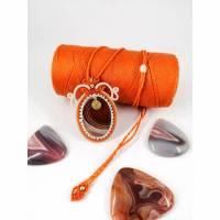 Makramee-Halskette mit Botswana-Achat und Messing Bild 1