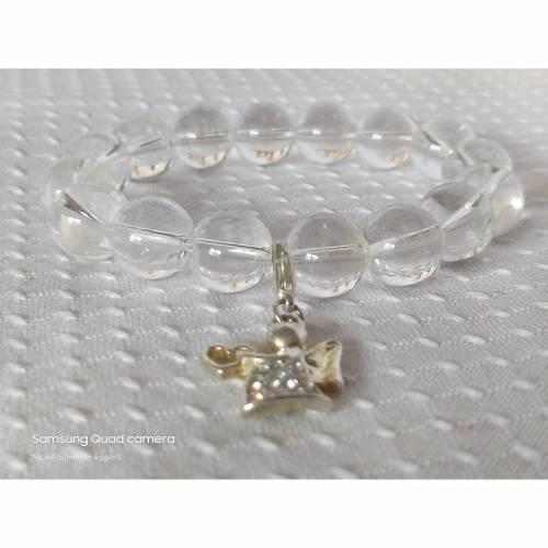 Engelsarmband mit Bergkristalperlen und Charm Engel 925 Sterling Silber Zirkonia weiß