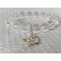 Engelsarmband mit Bergkristalperlen und Charm Engel 925 Sterling Silber Zirkonia weiß  Bild 1