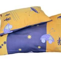 retro Kinderbettwäsche blau und gelb, 100x130cm 40x60 cm  Weltraummotive, Sterne Ufo, Science Fiction, upcycling Bild 1