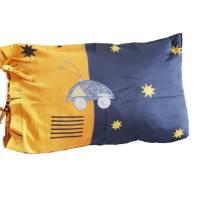 Kissen mit Innenkissen, Kissenhülle in blau und gelb mit Schlaufenbindung, 65x40 cm, Weltraummotive, Unikat,  Bild 1