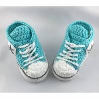 gehäkelte Babyturnschuhe in helltürkis (16) Bild 1