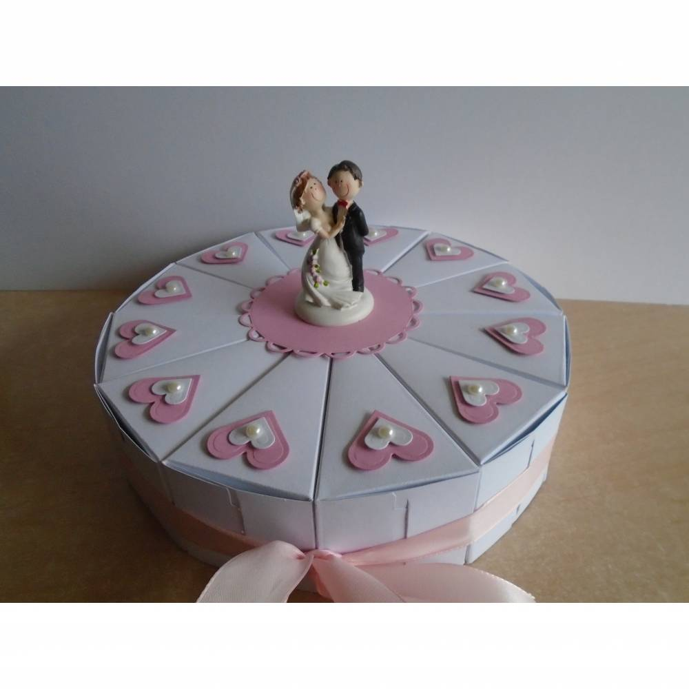 Hochzeitstorte, Geldgeschenk zur Hochzeit ,Schachteltorte ,Papiertorte ,Give Away ,Torte ,Hochzeitsgeschenk,Brautpaar,Verpackung, Bild 1