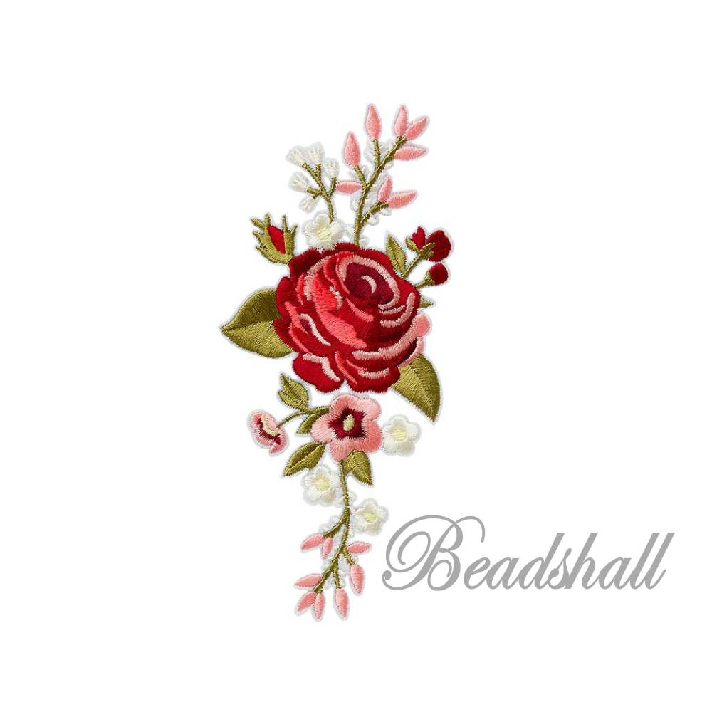 Bügelbild Blumenranke Rose mit Blätter große Applikation Dunkelrot Rot Rosa Bild 1