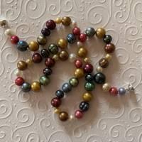 Perlenkette bunt mit Extralänge: 46 cm, Verschluss Si925, Home Office, Geschenk für Frauen, Zuchtperlen  Bild 1