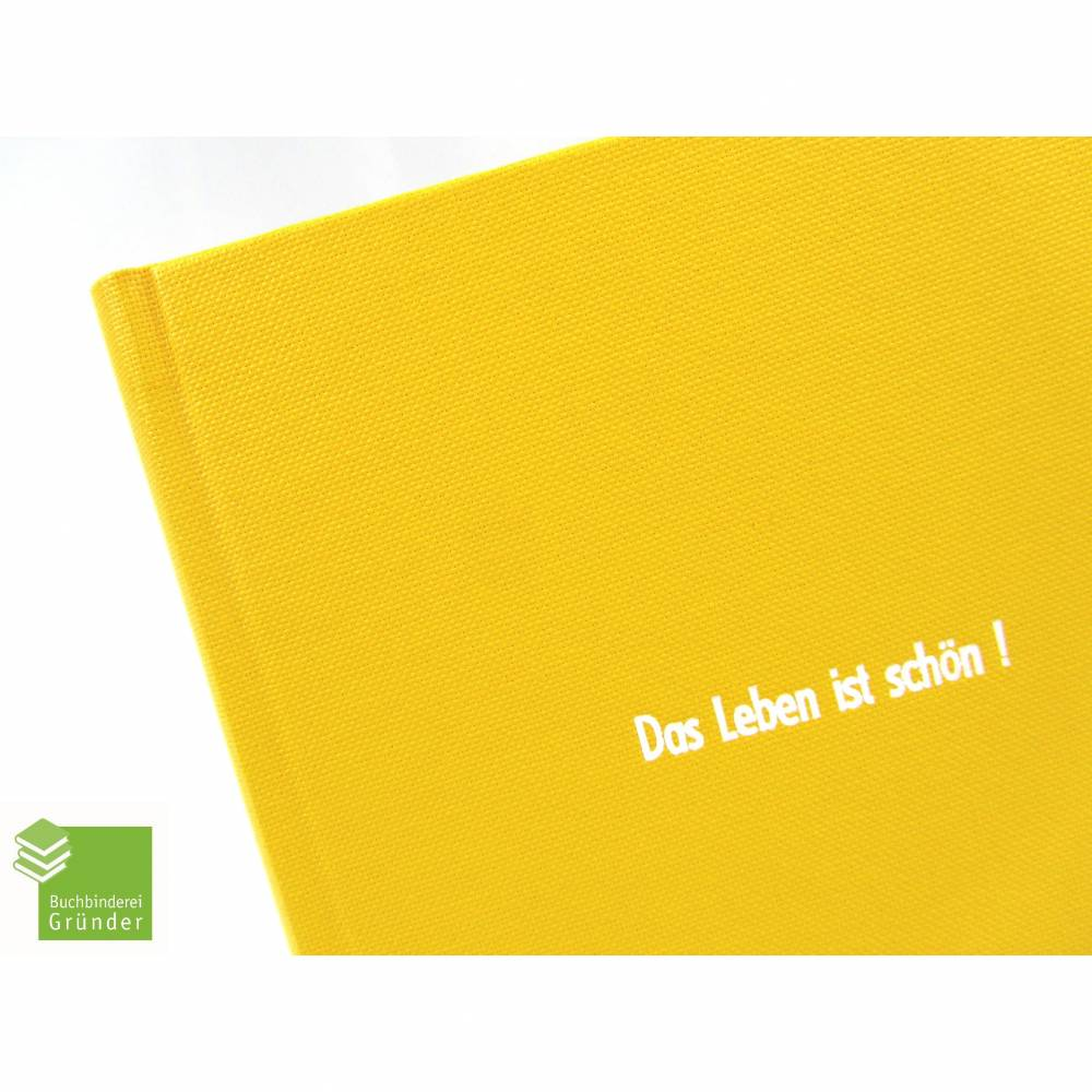Notizbuch, gelb, DIN A5, Das Leben ist schön, 100 Blatt Recyclingpapier Bild 1