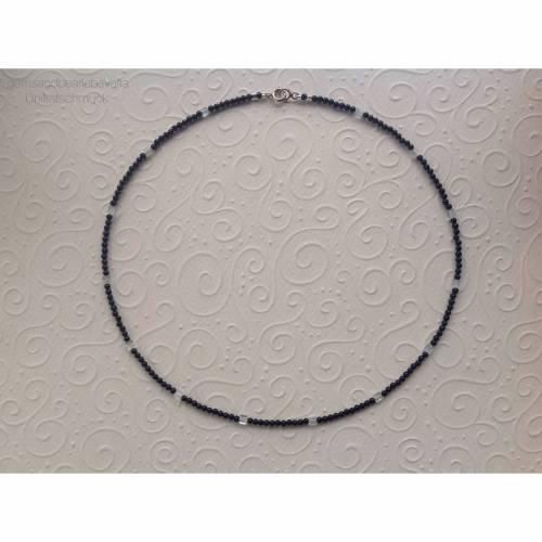Onyxkette mit Aquamarin, Geschenk für Frauen, Verschluss: Sterling Silber, Edelsteinkette