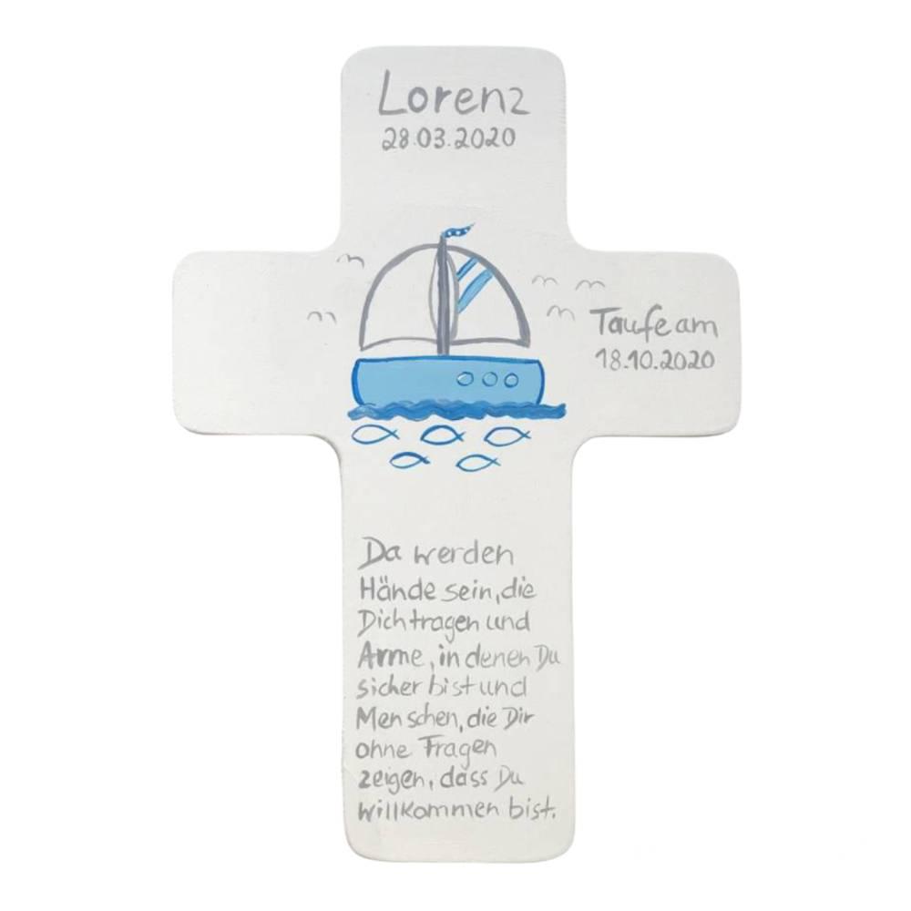 Taufkreuz Holzkreuz Kinderkreuz Segelboot  zur Taufe/Geburt/Kommunion Bild 1