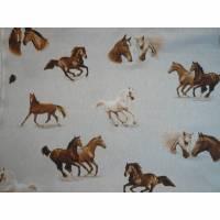 12,60 EUR/m Dekostoff Canvas Pferd / Pferde Köpfe auf hellbeige Leinenoptik