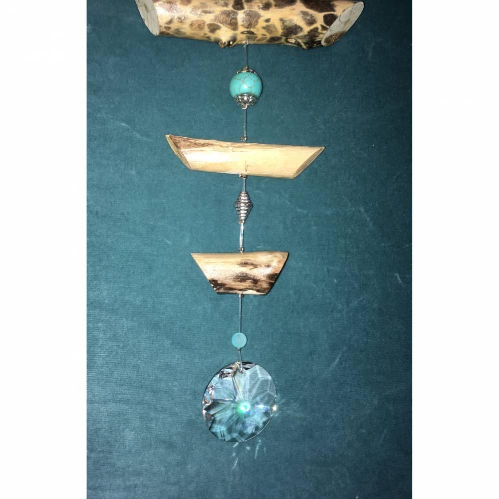 Treibholz Windspiel wahlweise mit Feng shui Glocke oder Feng shui Kristall Bild 1