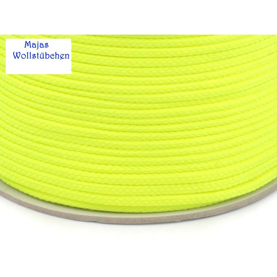 (0,40€/1m) Polyesterkordel 4 mm Durchmesser Kordel  sulphur spring neon Bild 1