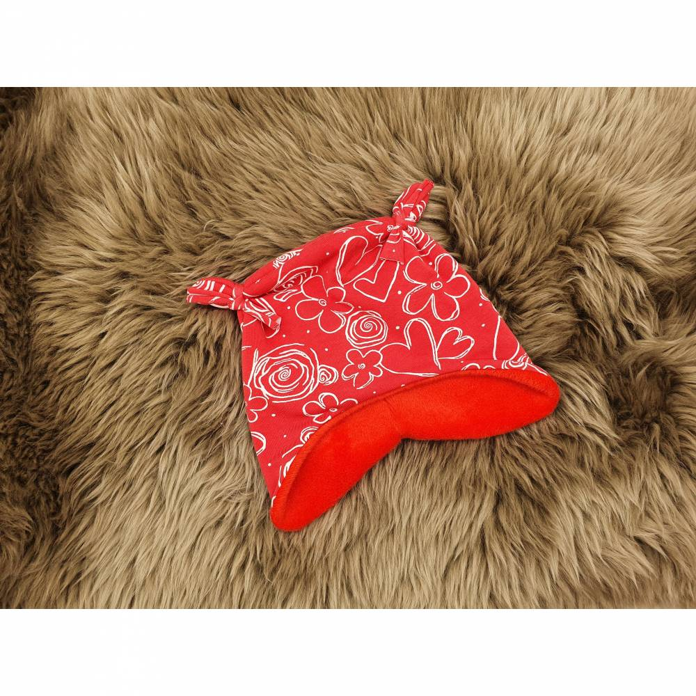 Garnelchen Baby Mütze Blumen rot Alpenfleece KU 41-43cm - gefüttert Bild 1