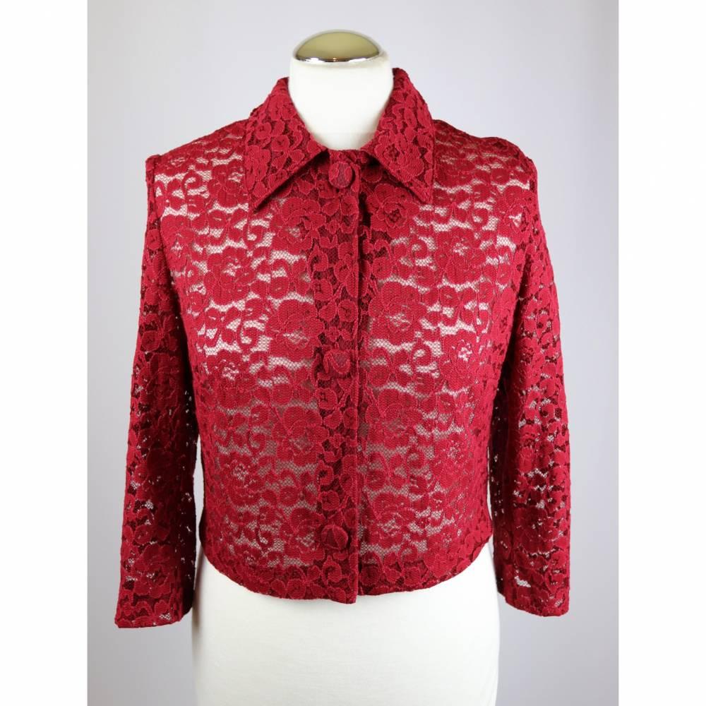 Vintage 80er Bluse Spitze Cardigan Kurzjacke Größe 38 40 Bordeaux Dunkelrot Blumen Spitzenjacke Spitzenbluse Blazer Crop Top Bild 1