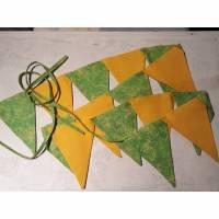Wimpelkette Girlande Dekoration grün gelb Wandschmuck Geburtstagsgirlande Bild 1