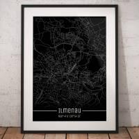 Stadtplan ILMENAU - Just a Black Map I Digitaldruck Stadtkarte citymap City Poster Kunstdruck Stadt Karte Bild 1