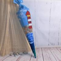 "Gefilzte Schultüte ""Leuchtturm"" 70cm, Filzschultüte Bild 1"