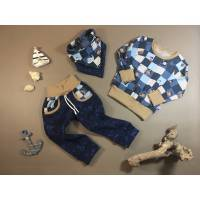 Langarmshirt mit passender Hose und Tuch, einzeln, in Kombination oder im ganzen Set, Größe 86/92