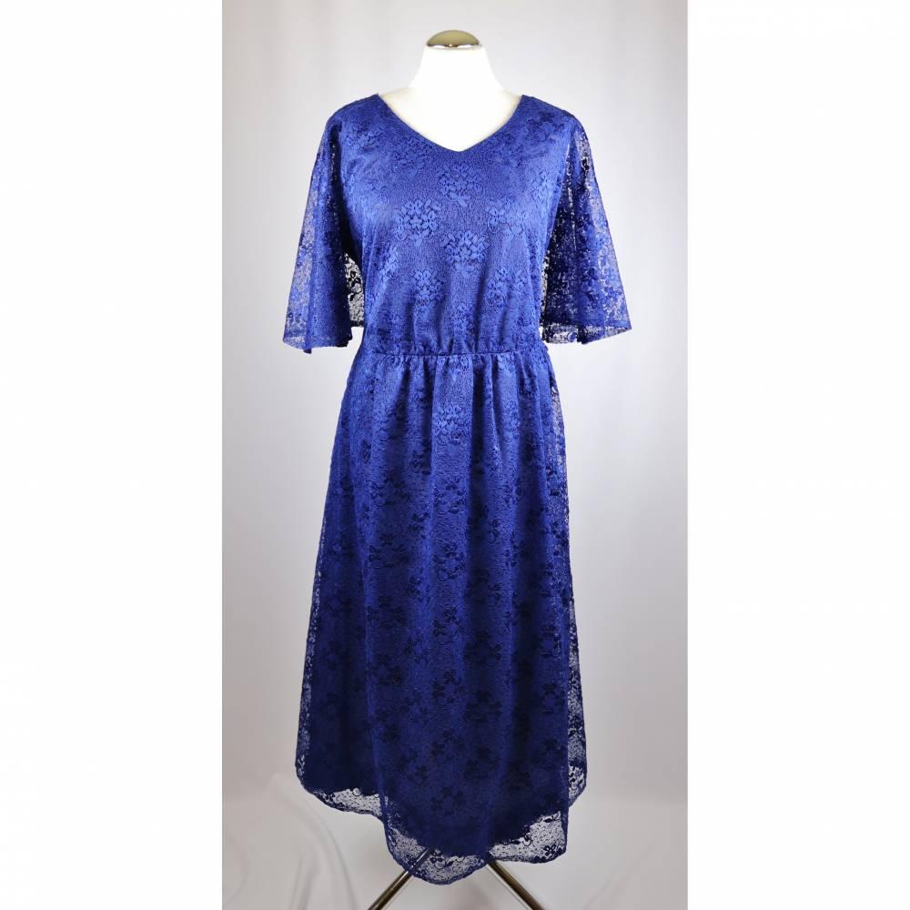 True Vintage 80er Spitzenkleid Midikleid Festlich Weise Festmoden Größe 46 44 Blau Royalblau Spitze Flügelärmel Maxikleid Bild 1