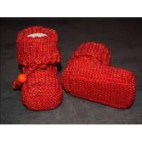 Baby-Strickschuhe rot/orange 9 cm Bild 1
