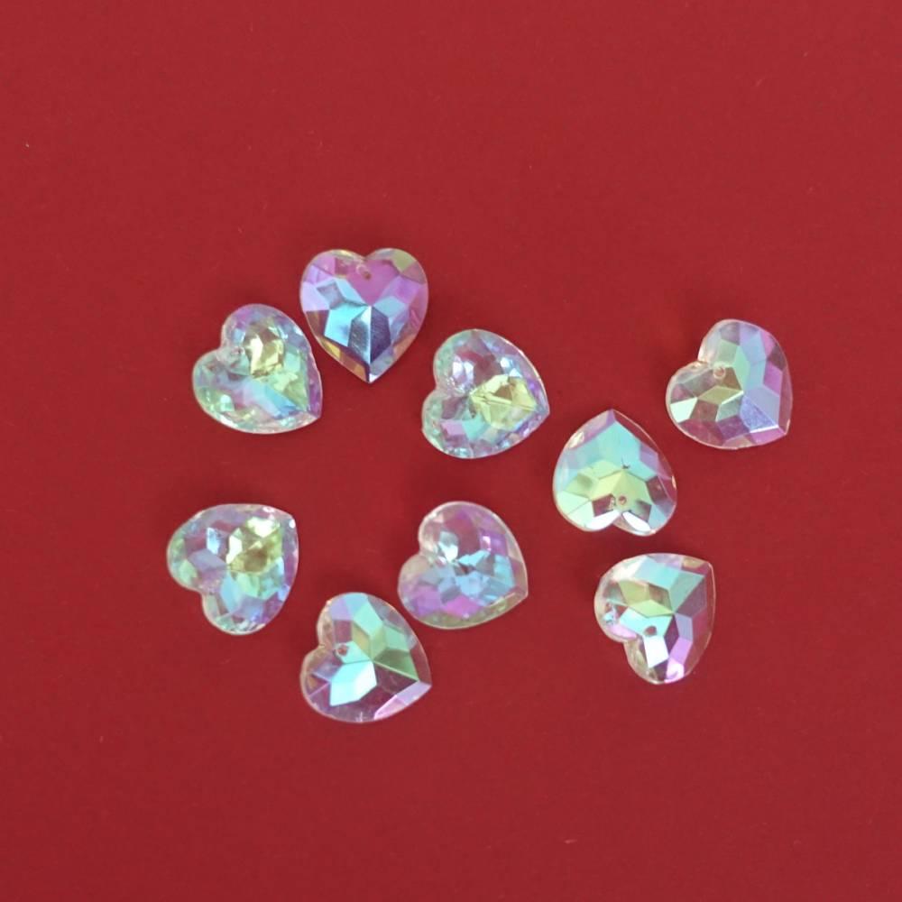 Schimmernde Kristallherzen mit einem kleinen Loch, vielseitige Deko Bild 1