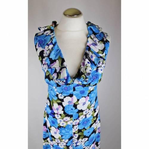 True Vintage Maxikleid Größe 34 36 Blau Weiß Blumen Floral 70er 60er V- Neck Shift Dress langes Kleid Sommerkleid Abendkleid Hippie