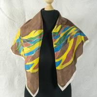 Vintage Halstuch, Tuch aus Seide für Damen, getragen, handgemachtes Tuch, in gedeckteren Farben, Vintage Bild 1