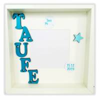 Bilderrahmen/Druck TAUFE mit Holzbuchstaben Bild 1