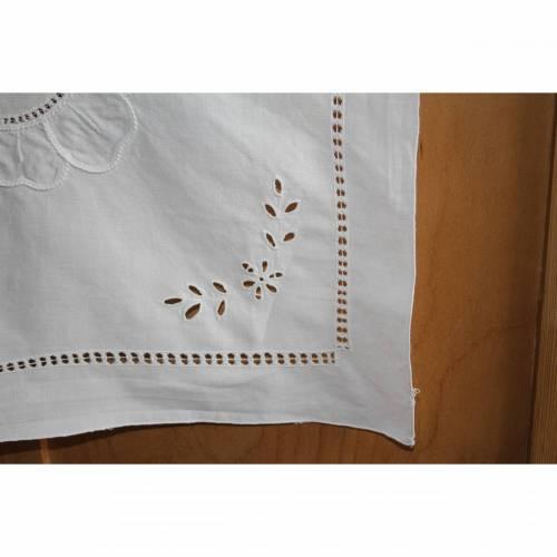 weiße Vintage Tischdecke Richelieu Stickerei