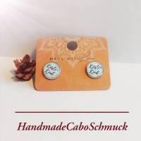 """Edelstahl Cabochon Ohrringe 12mm Schriftzug """"Küstenkind"""" weiß/blau, maritim - als Hänger oder Ohrstecker möglich Bild 1"""