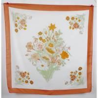 True Vintage Zart Halstuch Tuch Orange Creme Bouquet Blumen Strauss Tuch Haarband Schal Einstecktuch 50er Bild 1