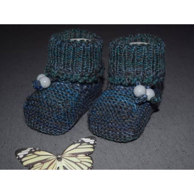 Baby-Strickschuhe dunkelgrau-grün-blau 9 cm Bild 1