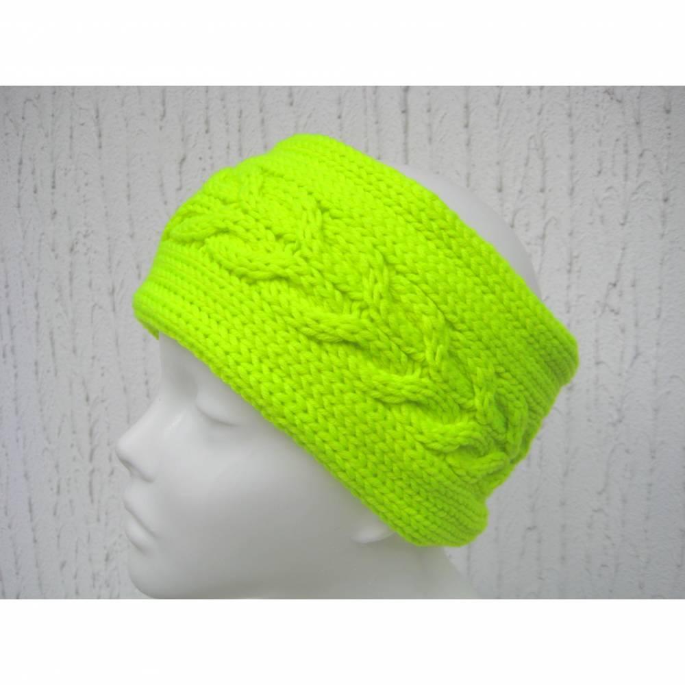 Stirnband Ohrenwärmer gestrickt in NeonGelb zum Laufen Walken Wandern aus Wolle (Merinowolle) Bild 1