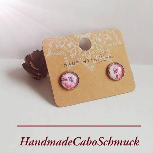 Edelstahl 10mm Cabochon Ohrringe pink rosa Blume Blumenmotiv - als Hänger oder Ohrstecker möglich