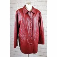 True Vintage 80er Roter Ledermantel Kurzmantel Größe 40 Dunkelrot Bestickt echtes Leder Mantel Jacke Bild 1