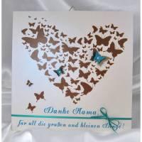 Muttertag Geschenk personalisiert Muttertagsgeschenk Bild Wandbild Mama Herz Schmetterling Druck Braun Türkis Danke Bild 1