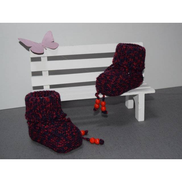 Babystrickschuhe rdunkelblau-rot 9 cm Bild 1